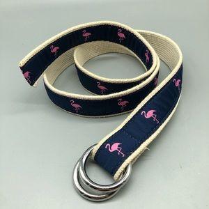 J. Crew navy flamingo adjustable double loop belt